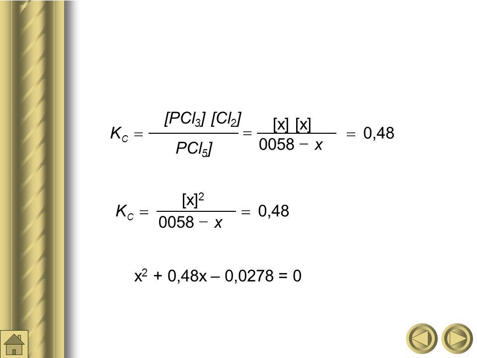 [x] [x] 0,48 0058 [PCl3] [Cl2] K x PCl5] = - [x]2 0,48 0058 K x = -